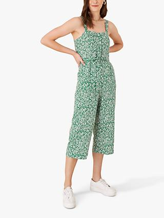 Monsoon Tie Waist Culotte Jumpsuit, Green