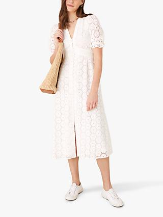 Monsoon Mia Broderie Midi Tea Dress, Ivory