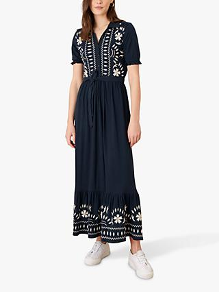 Monsoon Heritage Embroidered Maxi Shirt Dress, Navy