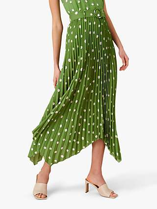 Monsoon Pleated Spot Print Skirt, Green