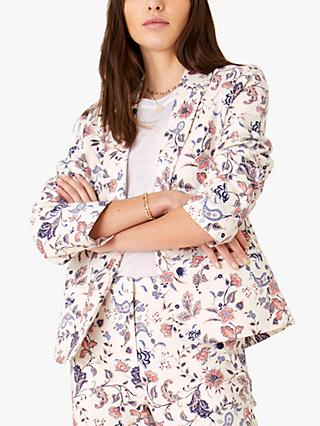 Monsoon Floral Print Jacket, Ivory