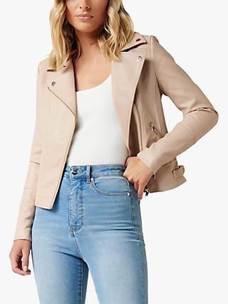 Forever New Bobbie Fitted Biker Jacket, Latte Beige