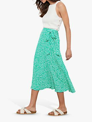 Mint Velvet Verity Abstract Spot Midi Skirt, Green