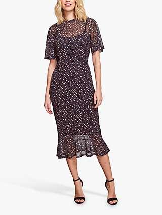 Sosandar Spot Print Mesh Midi Dress, Black/Multi