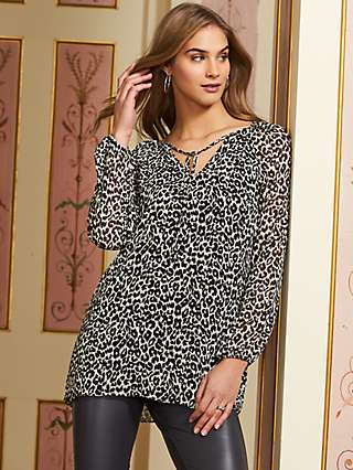Sosandar Tie Neck Leopard Print Tunic Top, Multi