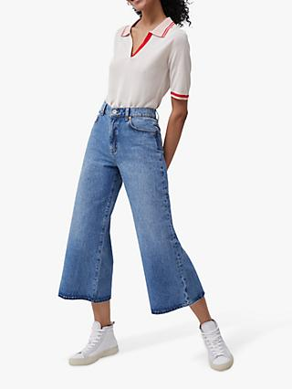 French Connection Piper Cropped Wide Leg Jeans, Mid Blue
