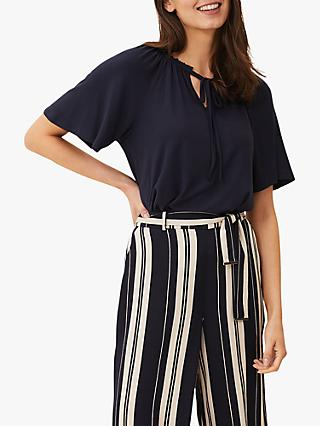 Phase Eight Fia Tie Neck Top, Navy