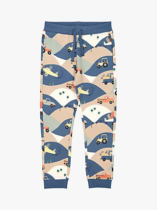 Polarn O. Pyret Kids' GOTS Organic Cotton Vehicle Print Joggers, Simply Taupe