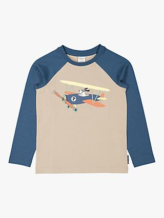 Polarn O. Pyret Kids' GOTS Organic Cotton Airplane Top, Simply Taupe