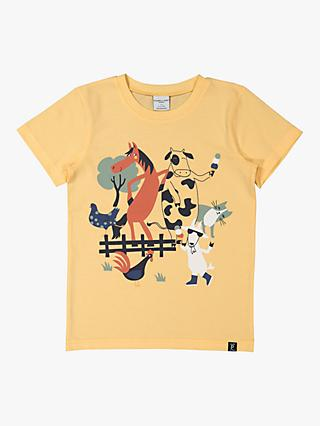 Polarn O. Pyret Kids' GOTS Organic Cotton Farmyard Animals T-Shirt, Impala Yellow
