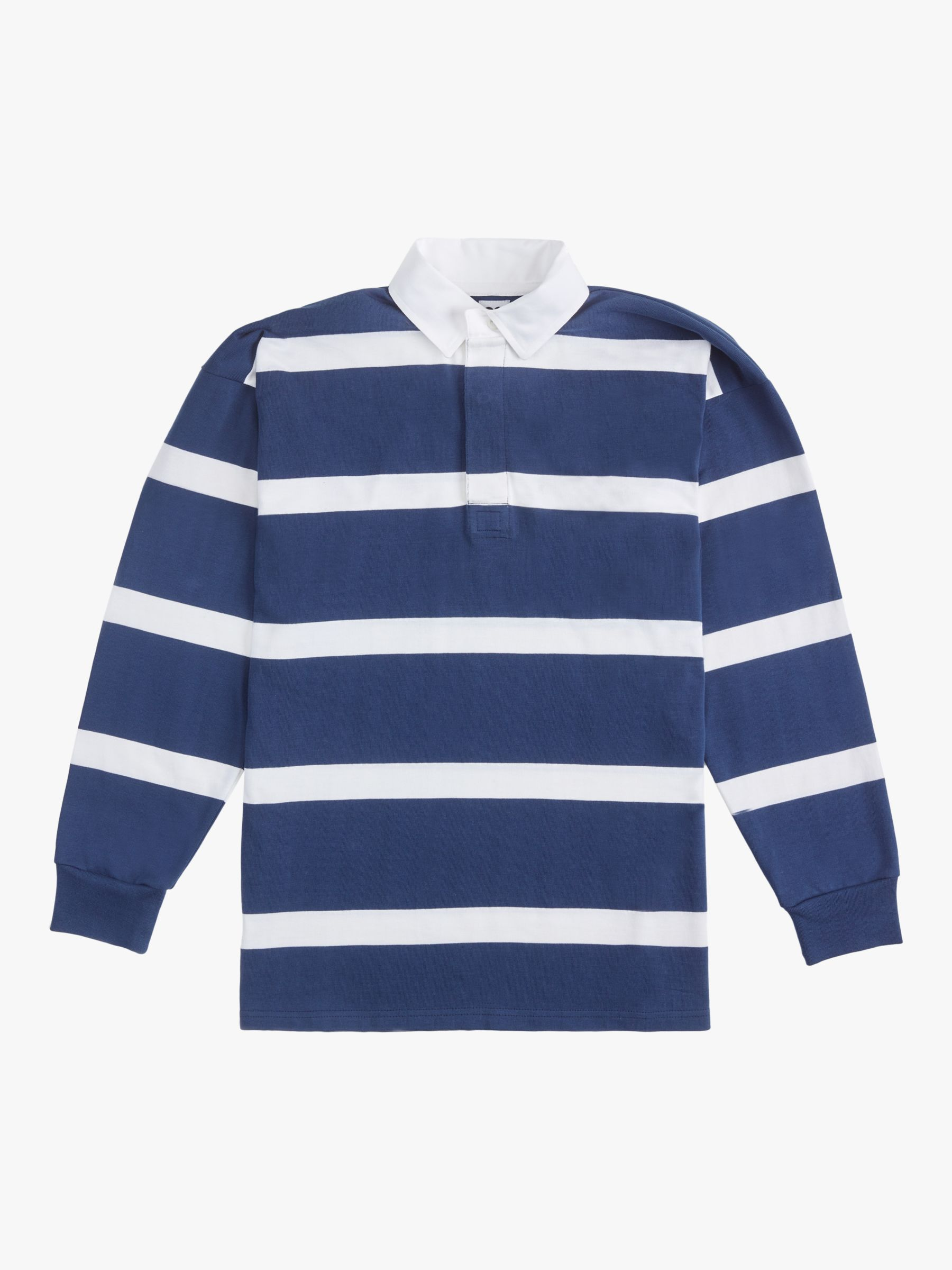 Community Clothing Stripe Rugby Shirt, Navy/White Stripe