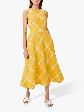 Hobbs Lydia Linen Dress, Yellow