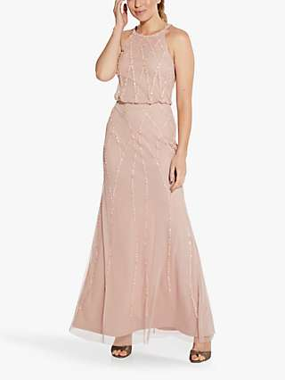 Hailey Logan by Adrianna Papell Long Beaded Gown, Summer Blush