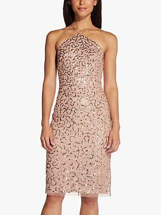 Adrianna Papell Beaded Halter Knee Length Dress, Rose Gold