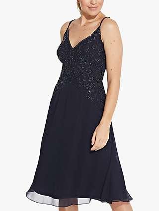 Hailey Logan by Adrianna Papell Beaded A-Line Midi Dress, Midnight