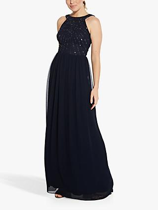 Hailey Logan by Adrianna Papell Beaded Bodice Maxi Gown, Midnight