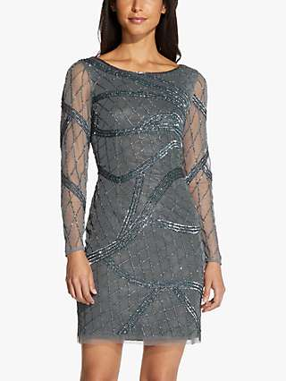 Hailey Logan by Adrianna Papell Beaded Sheer Sleeve Dress, Green Granite