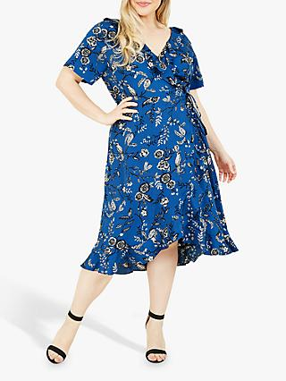Yumi Curves Bird Print Ruffle Wrap Midi Dress, Blue