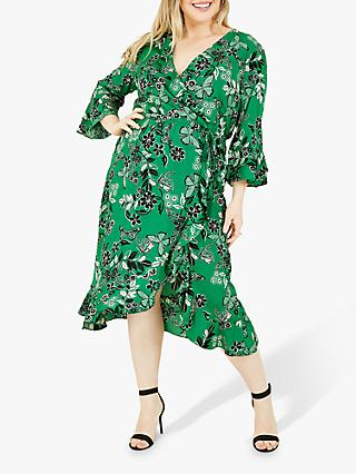 Yumi Curves Butterfly Floral Print Ruffle Wrap Midi Dress, Green