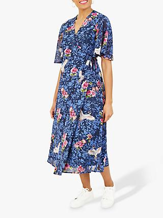 Yumi Crane Floral Print Midi Wrap Dress, Blue/Multi