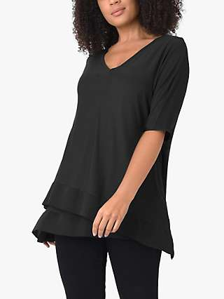 Live Unlimited Curve Asymmetric Hem Short Sleeve Top, Black