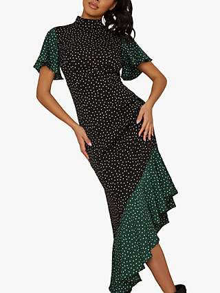 Chi Chi London Moira Spot Print Dress, Black/Green