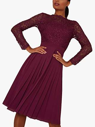 Chi Chi London Ahtenia Lace Dress, Purple