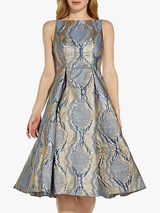Adrianna Papell Abstract Metallic Fit and Flare Dress, Icy Topaz/Gold