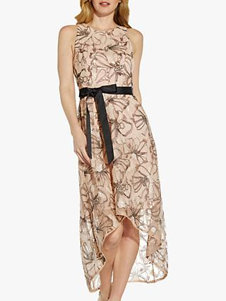 Adrianna Papell Floral Sequin High Low Dress, Tauple