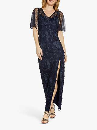 Adrianna Papell 3D Embroidered Maxi Gown, Midnight