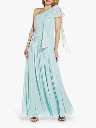 Adrianna Papell Pleated Chiffon Maxi Gown, Mint Smoke