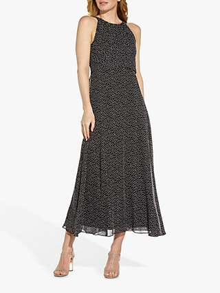 Adrianna Papell Darling Spot Midi Dress, Black/Ivory