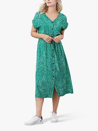 Joules Yasmine Abstract Spot Midi Dress, Green Speckle