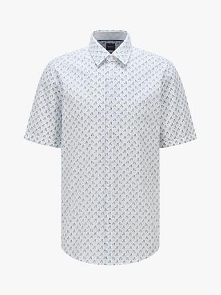BOSS Luka Print Regular Fit Cotton Shirt, Light/Pastel Blue