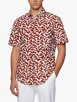 BOSS Luka Banana Leaf Print Shirt, Open Brown