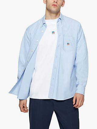 BOSS Nambeth Relaxed Fit Cotton Shirt, Open Blue