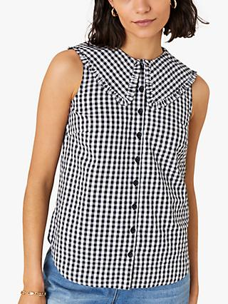 Monsoon Gingham Sleeveless Cotton Shirt, Ivory