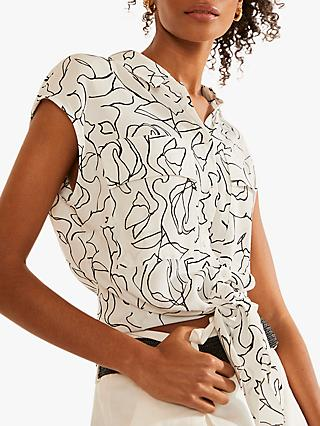 Mint Velvet Jane Longline Abstract Shirt, Ivory