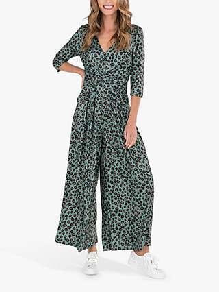 Jolie Moi Animal Print Wrap Front Jumpsuit, Green