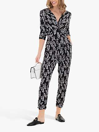 Jolie Moi Cheryl Leaf Print Jumpsuit, Black