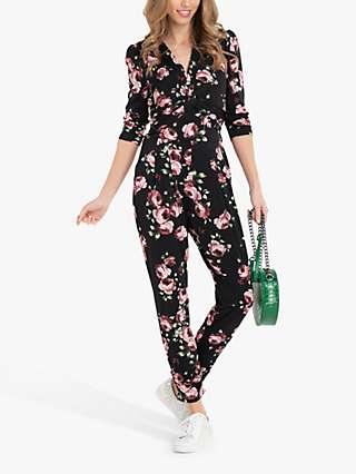 Jolie Moi Cheryl Floral Print Jumpsuit, Black