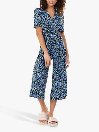 Jolie Moi Bess Floral Print Tie Waist Jumpsuit, Blue
