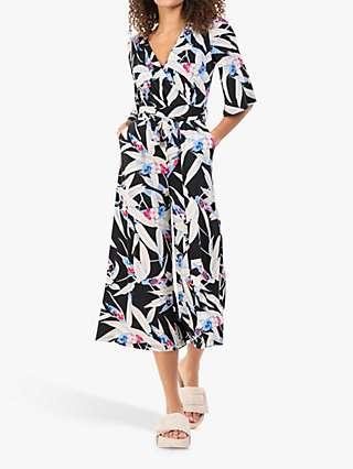 Jolie Moi Cara Leaf Print Wrap Jumpsuit, Black