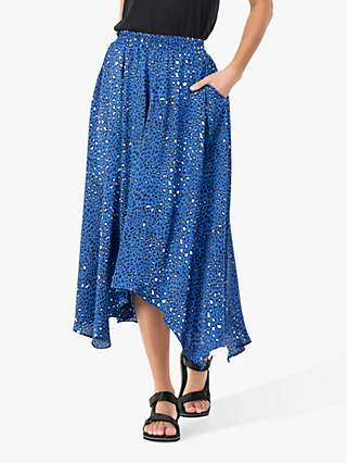 Jolie Moi Animal Print Hanky Hem Midi Skirt, Blue