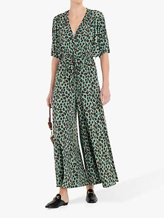 Jolie Moi Animal Print Jumpsuit, Green