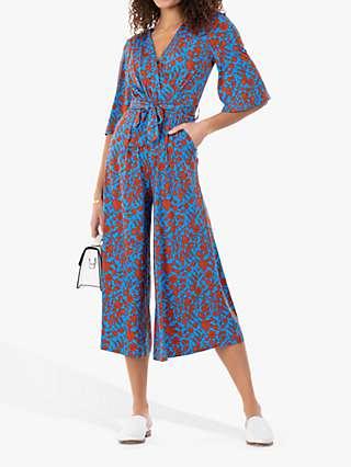 Jolie Moi Cara Floral Print Wrap Jumpsuit, Blue/Multi