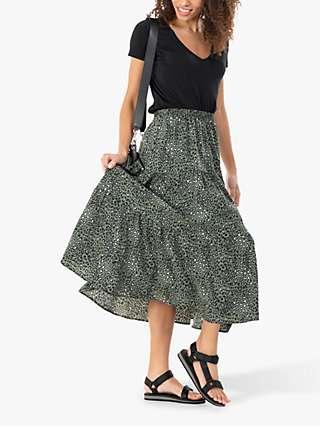 Jolie Moi Sara Animal Print Midi Skirt, Green Leopard