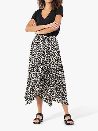 Jolie Moi Animal Print Hanky Hem Midi Skirt