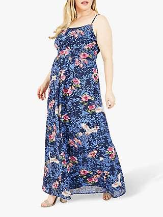 Yumi Curves Crane Floral Print Maxi Dress, Blue