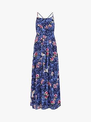 Yumi Crane Print Maxi Dress, Blue